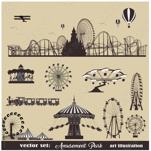 Poster Amusementspark Vector illustration set.Roller Coaster Silhouette .Carousel