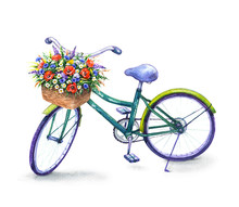 Bicycle With  Wildflowers   Basket
