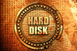 hard disk, 3D rendering, text on metal