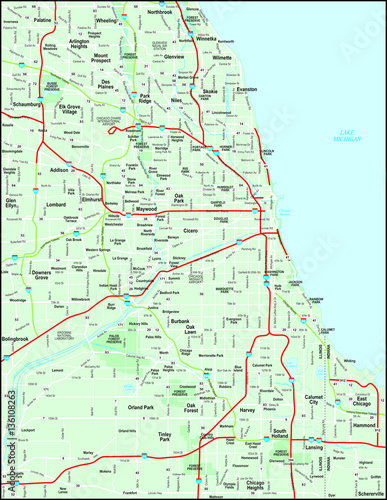 Chicago Metro Map with Major Roads - Buy this stock vector and ... on