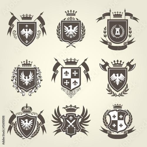 Fotografía  Medieval royal coat of arms and knight emblems - heraldic shield