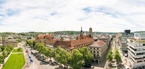 Foto auf Leinwand Historisches Gebaude High Angle View of Stuttgart Koenigstrasse Panorama