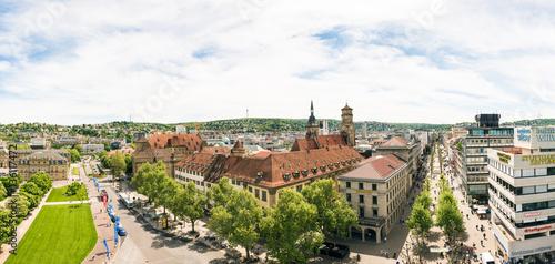 Foto auf AluDibond Historisches Gebaude High Angle View of Stuttgart Koenigstrasse Panorama