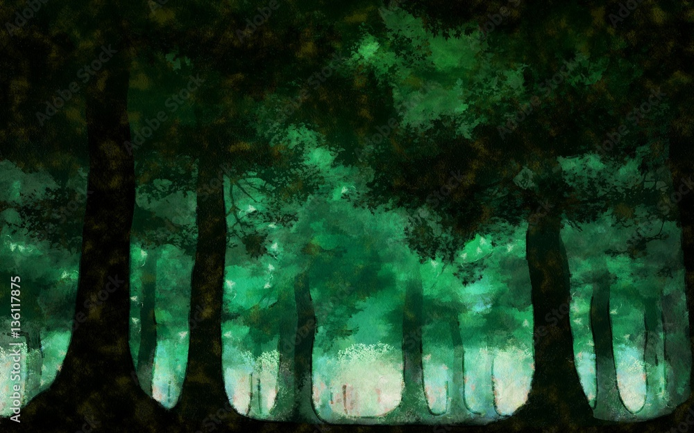 Green forest painting landscape - painting