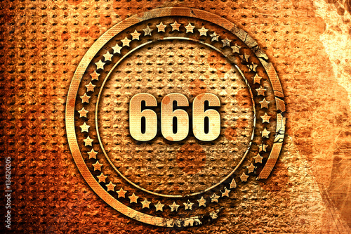 Платно  666, 3D rendering, text on metal