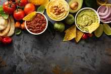 Homemade Hummus, Salsa And Guacamole With Corn Chips