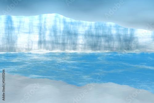 Papiers peints Piscine Arctic background with iceberg - 3D illustration