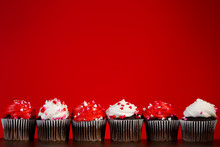 Cupcakes Set Many For Valentines On Red Close Up Heart Dark