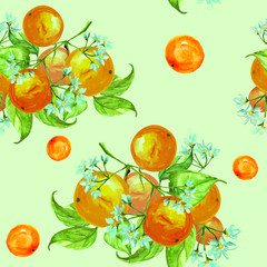 FototapetaSeamless vintage pattern. On the branches of an orange, citrus, flowers and leaves. Possible pattern for a different design. Manual schedule