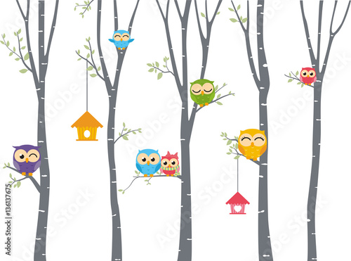Poster Uilen cartoon Happy Owl background with tree branch