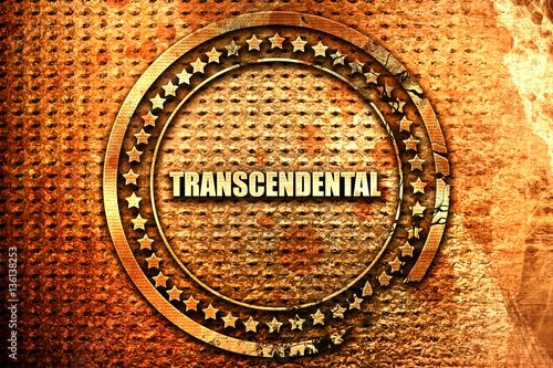 Photo transcendental, 3D rendering, text on metal
