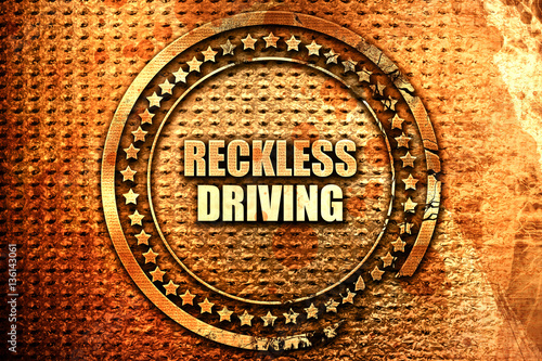 Fotografia, Obraz reckless driving, 3D rendering, text on metal