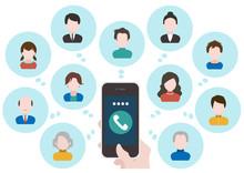 スマートフォン 人々 コミュニケーション