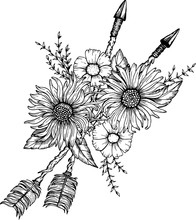 Beautiful Boho Elements . Arrows, Feathers And Flowers