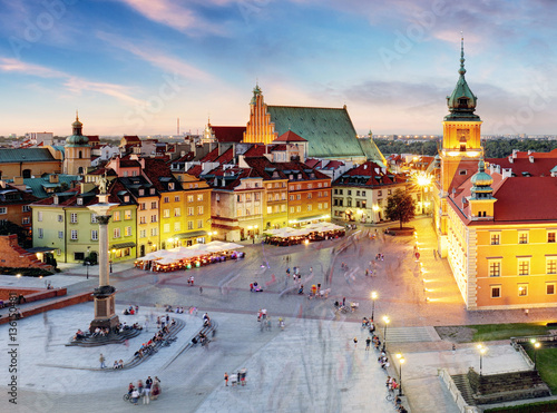 Fototapety, obrazy: Warsaw, Old Town Warsaw, Poland during sunset.