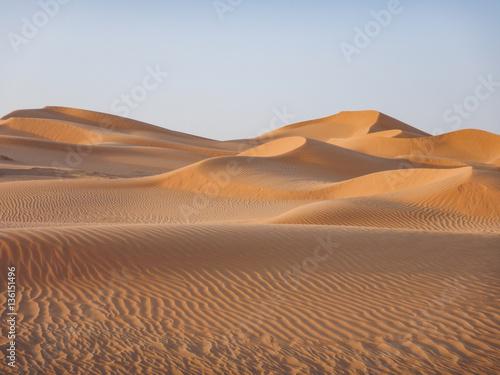 Tuinposter Zandwoestijn Wüste im Oman in goldenes Licht getaucht