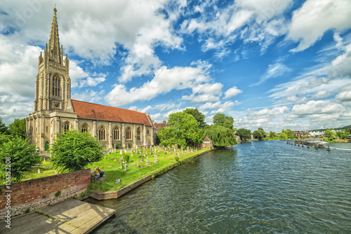 Marlow summer scennery with church on the river side Canvas Print