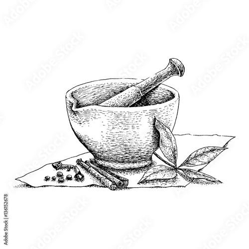 Fotomural Mortar and Pestle vintage line drawing