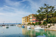 Sunny view of town Sirmione at Garda lake, Lombardia region, Italy.