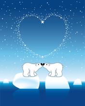 Polar Bear Couple On Icebergs With Star Heart