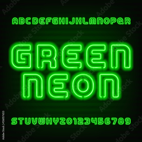 Neon tube alphabet font  Type letters and numbers  Green