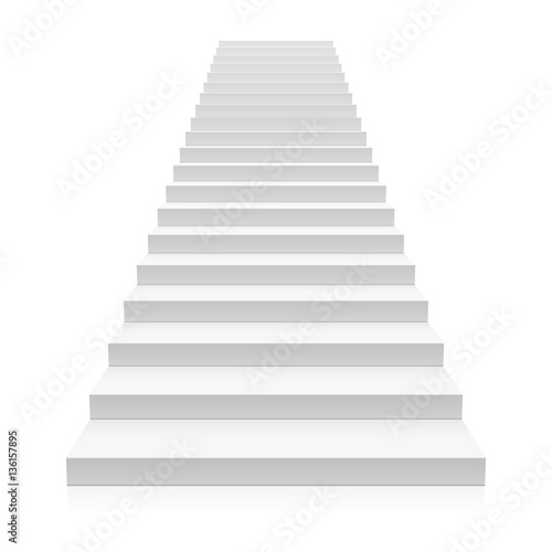 Front view of white staircase  Fototapete