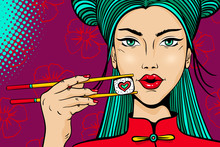 Pop Art Female Face. Young Sexy Asian Woman With Red Lips Holding Chopsticks With Roll In Form Of Heart In Her Hand On Bright Background. Vector Illustration In Retro Comic Style.