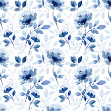 Pattern With Blue Flower Rose