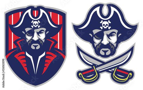 one eye pirate mascot Canvas Print
