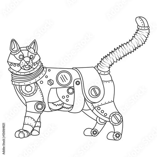 Steampunk style cat coloring book vector – kaufen Sie diese ...