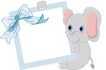 Baby Elephant Holding Blue Frame And Ribbon
