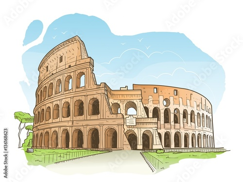 Fotografie, Obraz  Vector illustration of the Colosseum in Rome in hand drawn sketch style