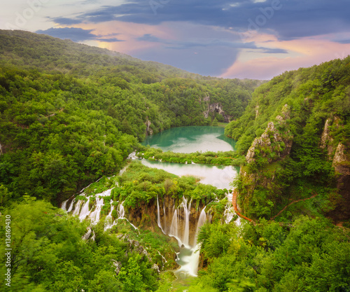 Fototapety, obrazy: Waterfalls in National Park Plitvice Lakes,sunrise over waterfal