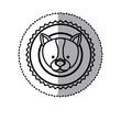 stamp sticker silhouette husky dog animal vector illustration