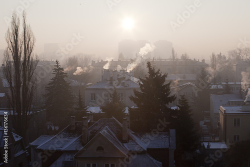 Photo  Smog in winter time in Warsaw, Poland