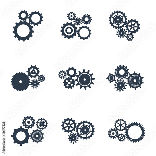 Photo  Set of outline icons of mechanical gears.