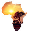 canvas print picture African sunset with acacia, Map of africa concept