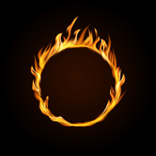 Fire Burning Circle On A Black...