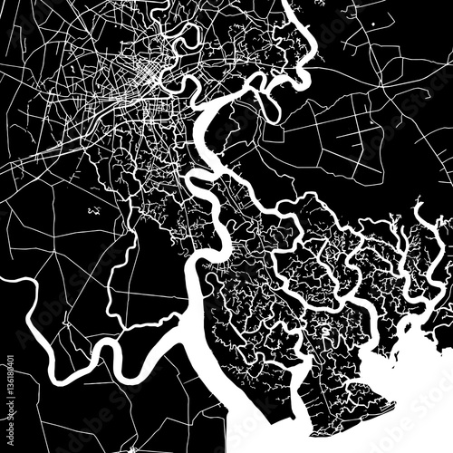 Ho Chi Minh City Vector Map Wallpaper Mural