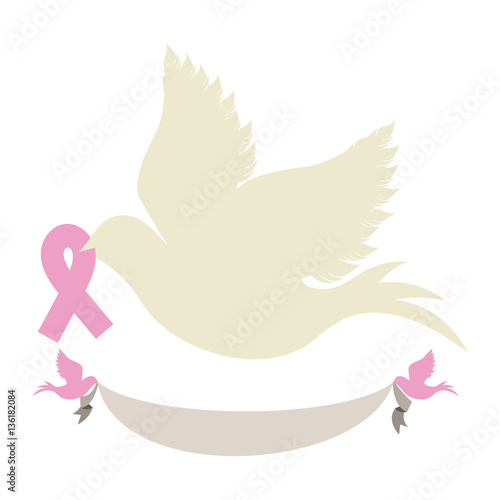 pigeon with ribbon of breast cancer in the peak vector illustration