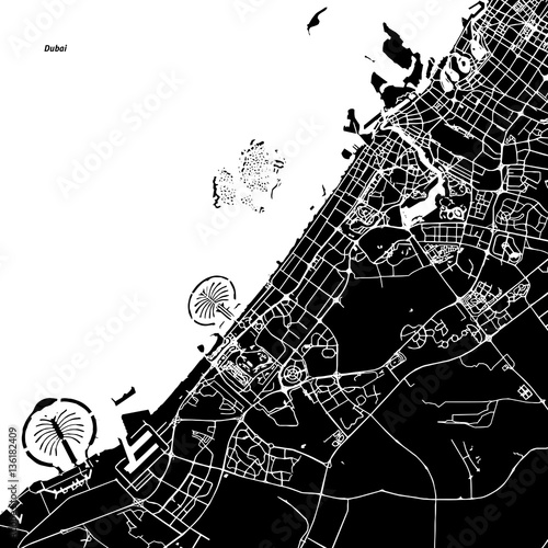 Dubai Vector Map Wallpaper Mural