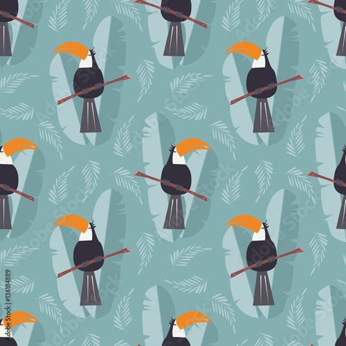 Materiał do szycia Wzór z dżungli słodkie papuga toucan na niebieskim tle