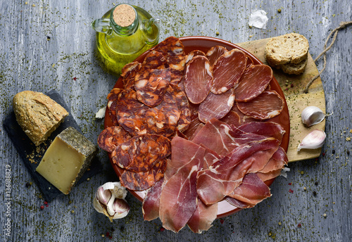 assortment of spanish cold meats