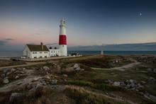 Portland Bill Lighthouse At Sunset In Dorset, England