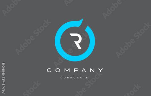 Photo  R letter alphabet blue circle logo vector design