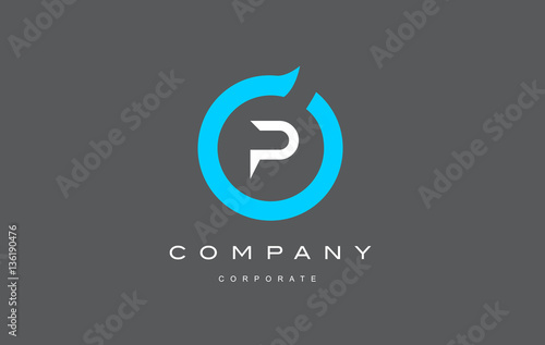 P Letter Alphabet Blue Circle Logo Vector Design Buy This Stock