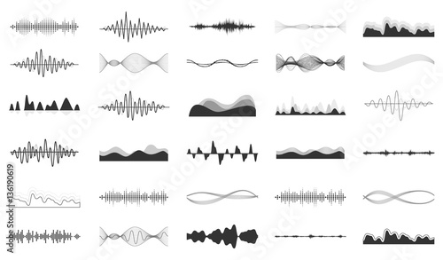 Poster de jardin Abstract wave Set of vector audio scales.