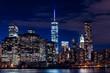 Manhattan skyline at night in New York City