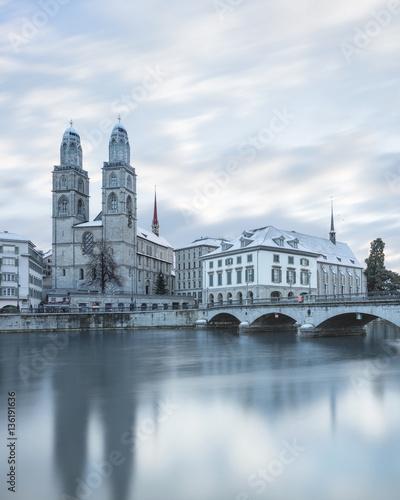 Winter landscape of Zurich with lake, Switzerland Fototapete