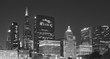 Black and white picture of Chicago downtown at night, USA